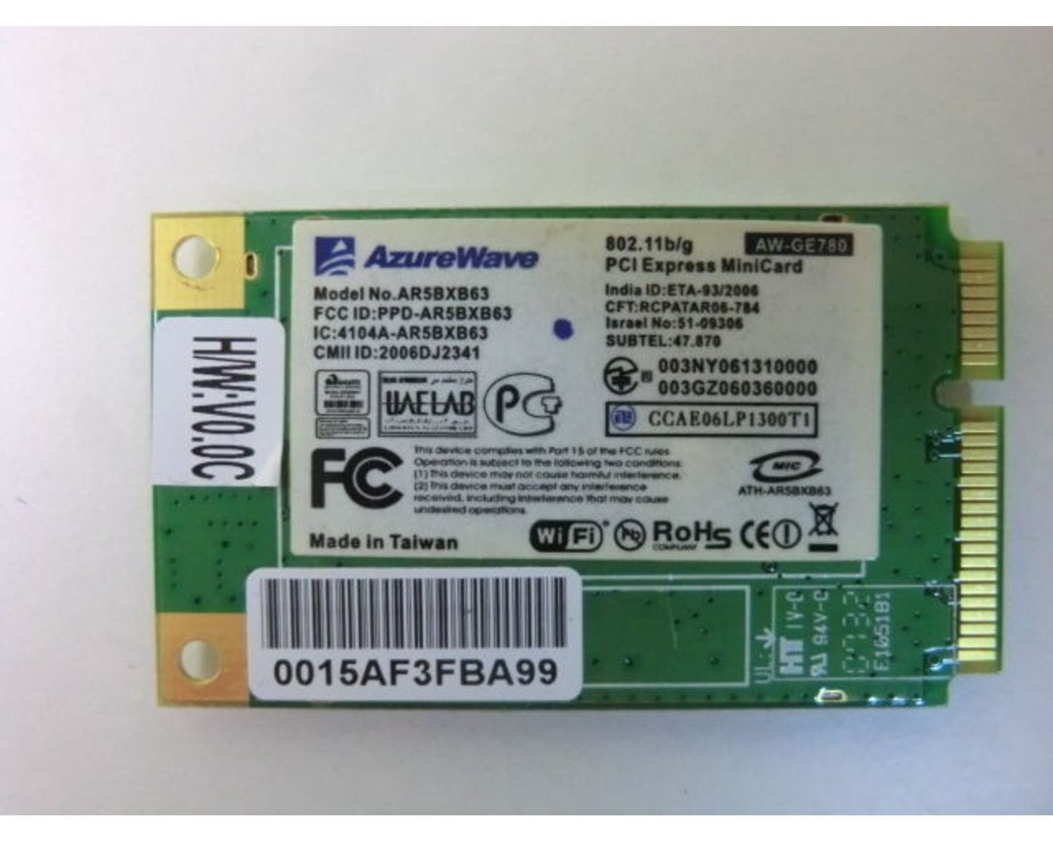 Asus A8D Mini PCI Wireless WiFi карта AzureWave